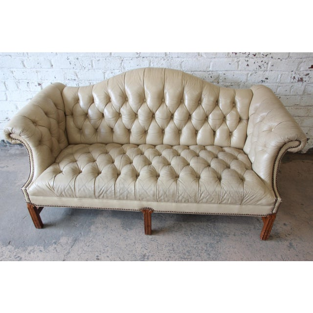 Metal Vintage Tufted Tan Leather Chesterfield Sofa For Sale - Image 7 of 10