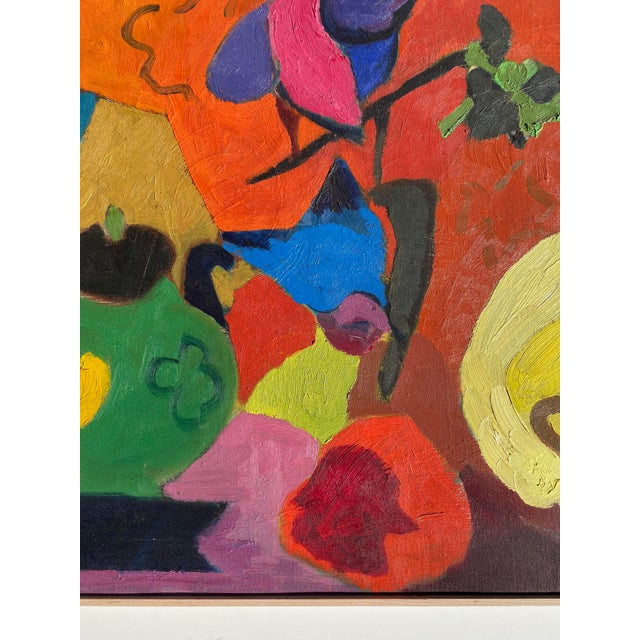 1960s Matisse Style Mid-Century Expressionist Oil on Canvas Painting For Sale - Image 5 of 8