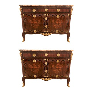 Pair Of Louis XV Style Antique French Floral Inlaid Marble Top Commode or Chests
