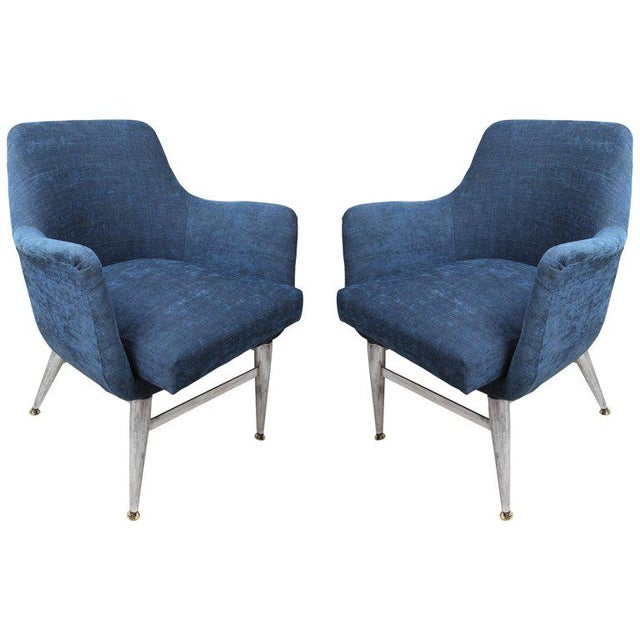 Mid-Century Modern Blue Silk Linen Chairs With Chrome Base and Legs - a Pair For Sale - Image 10 of 10