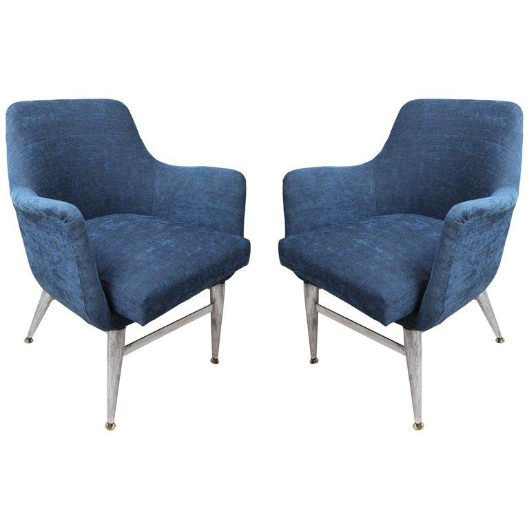 Mid Century Modern Blue Silk Linen Chairs With Chrome Base And Legs   A Pair