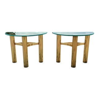 Italian Brass & Glass Demi-Lune Side Tables - a Pair For Sale