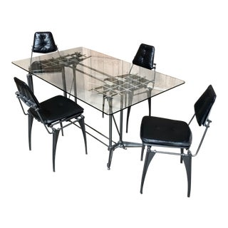 Modernist Aluminum & Black Leather Dining Set by Robert Josten