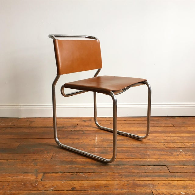 Mid-Century Modern Vintage Oiled Leather & Chrome Cantilever Chairs by Nicos Zographos - Set of 4 For Sale - Image 3 of 9