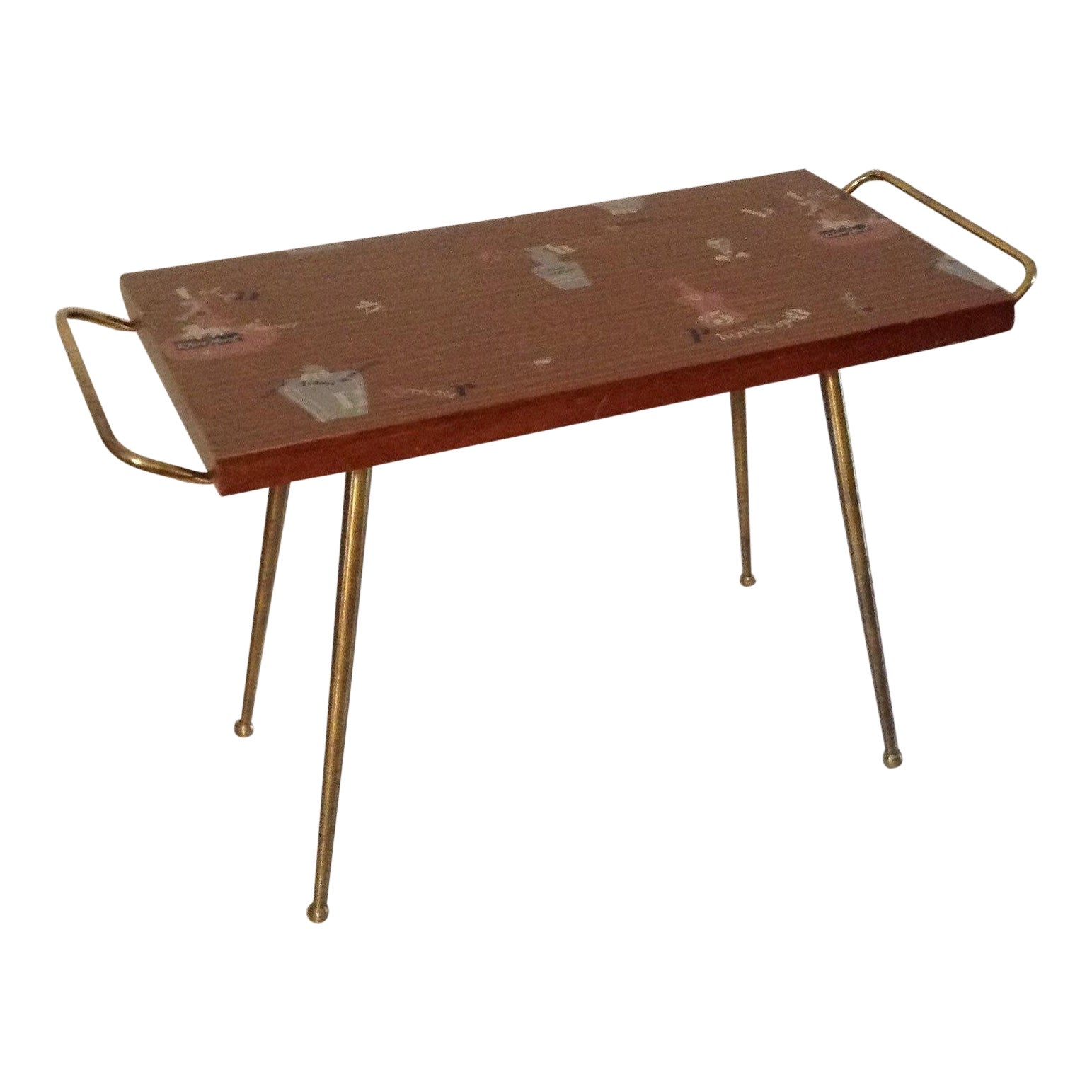 Oxidized Copper Bar Table Sheeting Cocktail Tray 30H Patina Furniture Side
