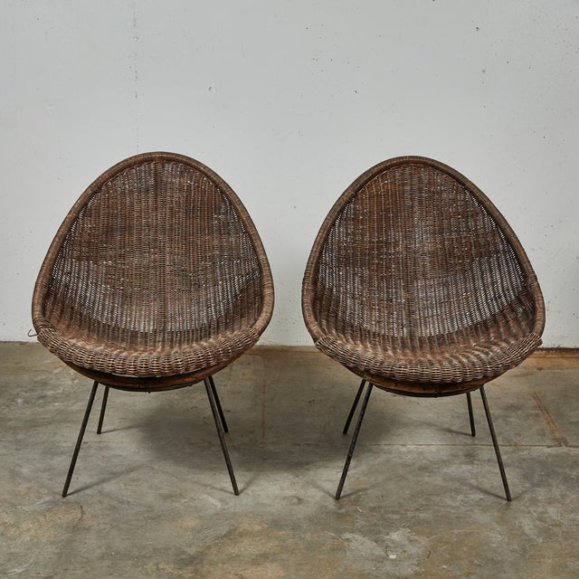 Mid-Century Bamboo and Rattan Chairs From France - a Pair For Sale - Image 10 of 11