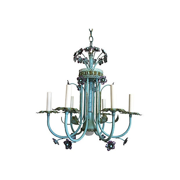 Color crush! Gorgeous midcentury Italian tole floral chandelier with six arms in its original turquoise, lavender and...