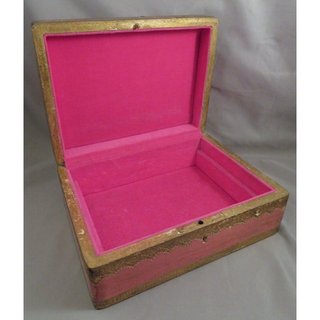 Vintage Pink & Gold Florentine Wooden Box For Sale In San Antonio - Image 6 of 7