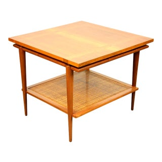 Widdicomb Two-Tier Walnut and Cane Side Table For Sale