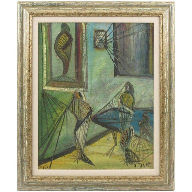 J. Blot France Modernist Interior With Spider Web Acrylic on Canvas Painting For Sale - Image 11 of 11
