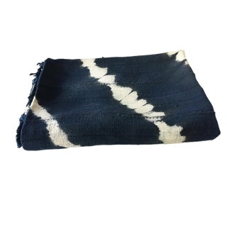 "African Mali Indigo and White Mud Cloth Textile 60"" by 44"" For Sale"