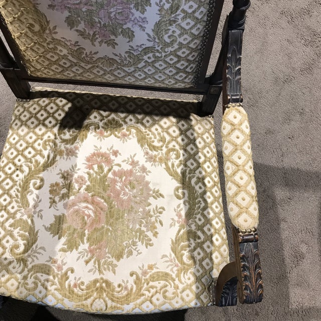 Antique Embroidered Floral Armchair - Image 6 of 10