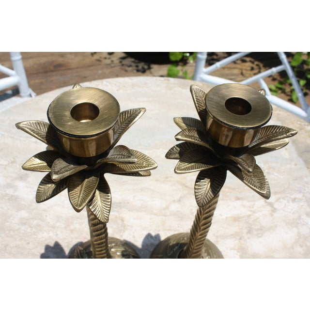 Vintage Brass Palm Tree Candleholders - a Pair - Image 3 of 7