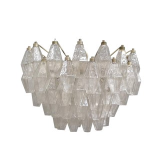Carlo Scarpa Polyhedral Transparent Chandelier by Venini For Sale