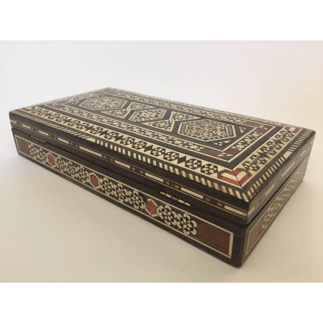 Wood Syrian Inlay Jewelry Wooden Box For Sale - Image 7 of 10
