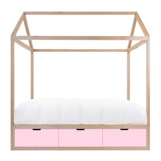 Domo Zen Twin Canopy Bed in Maple With Pink Finish Drawers For Sale