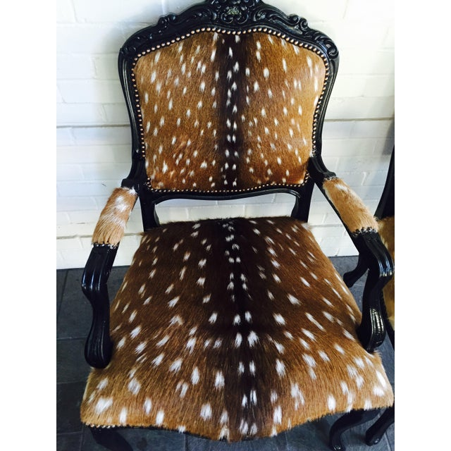 French Axis Deer Arm Chairs - Pair For Sale - Image 4 of 11