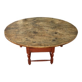 Rustic European Style Reclaimed Pine Round Pedestal Table For Sale