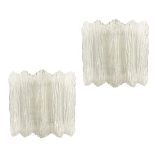 Textured Murano Glass Flush Mounts or Sconces - a Pair For Sale