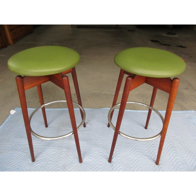 Danish Modern Floating Top Bar Stools - A Pair - Image 9 of 10