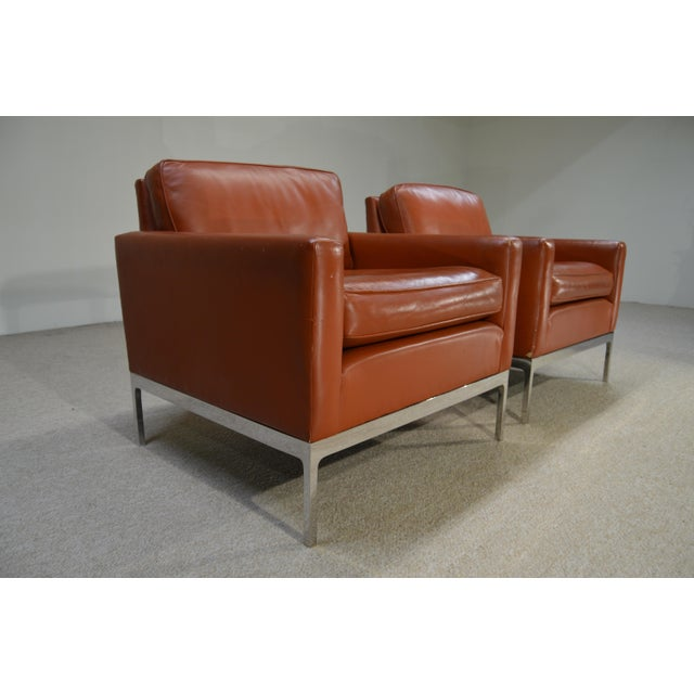 Mid-Century Modern Nicos Zographos Soft Leather Club Lounge Chairs - a Pair For Sale - Image 3 of 6