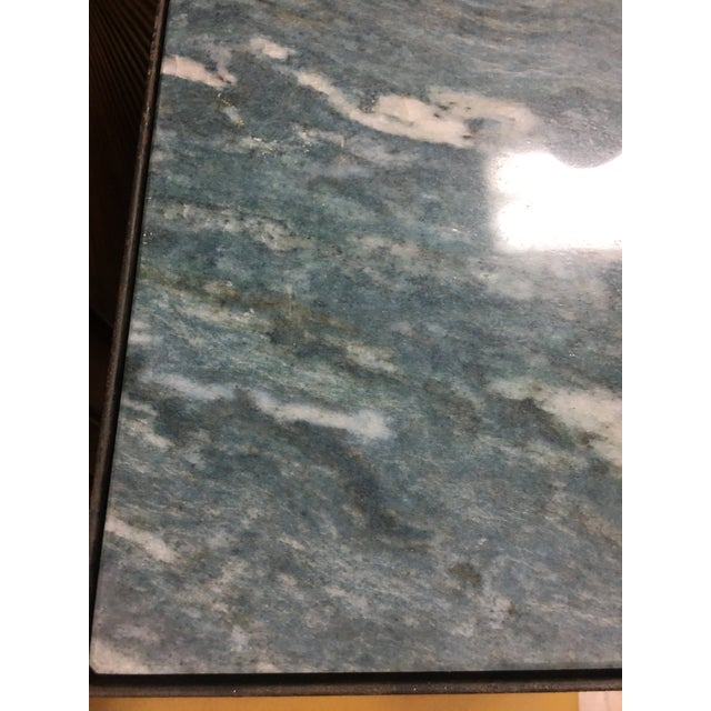 Green 'Azul Do Mar' Quartzite French Bistro Dining Table For Sale - Image 8 of 12