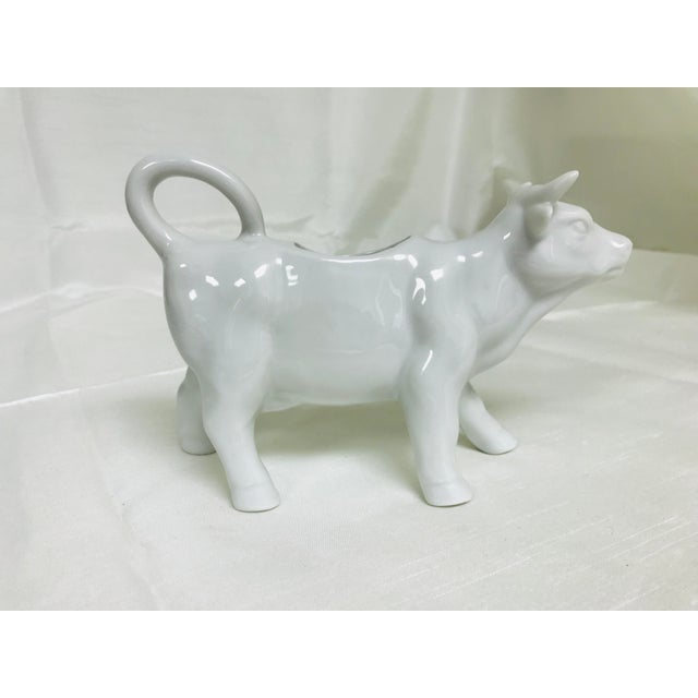 1970s Vintage White Ceramic Cow Creamer Pitcher For Sale - Image 4 of 8