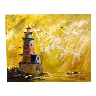 "1970's Vanguard Studios ""Lighthouse W Seagulls"" Oil Paintings by Lee Reynolds For Sale"