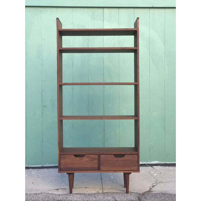Brown Custom Mid Century Style Bookcase For Sale - Image 8 of 8