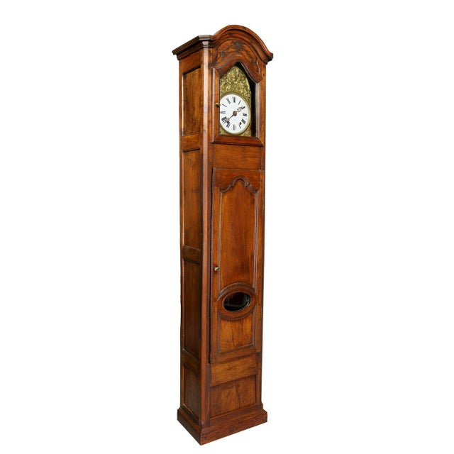 Brown Louis XVI Provincial Fruitwood Tall Case Clock For Sale - Image 8 of 8