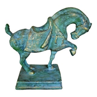 Large Tang Dynasty Verdigris Horse Statue For Sale