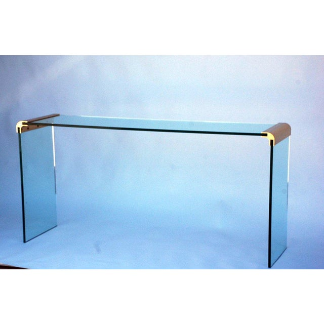1970s 1970s Pace Collection Glass and Gilt Bronze Console Sofa Table For Sale - Image 5 of 5