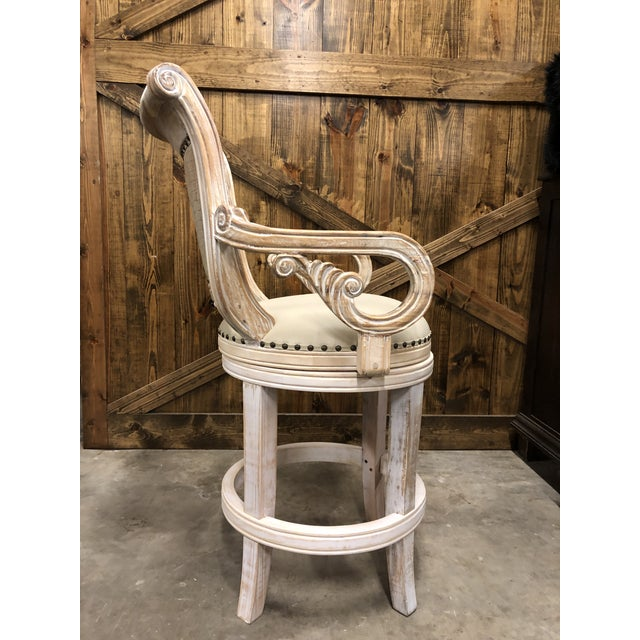 French Country Rustic Antique White Bar Stool For Sale In Dallas - Image 6 of 9