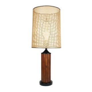 1970s Mid-Century Modern Black Teak Panel Table Lamp For Sale