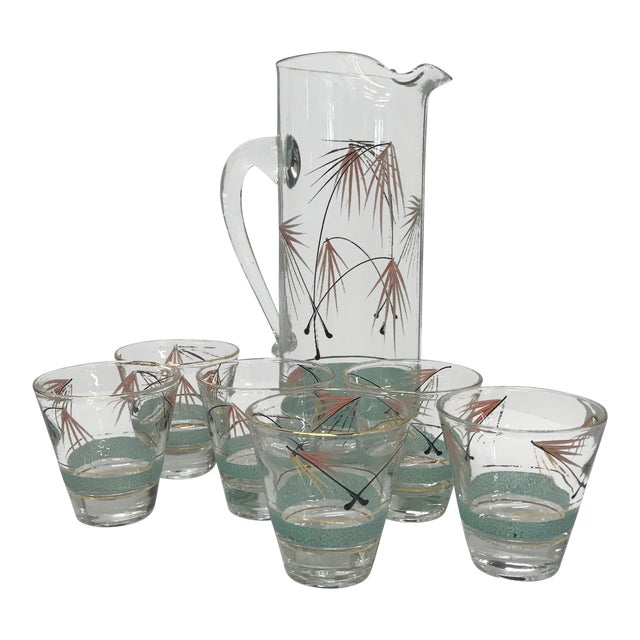 Mid-Century Modern Set of Six Glasses and Pitcher For Sale