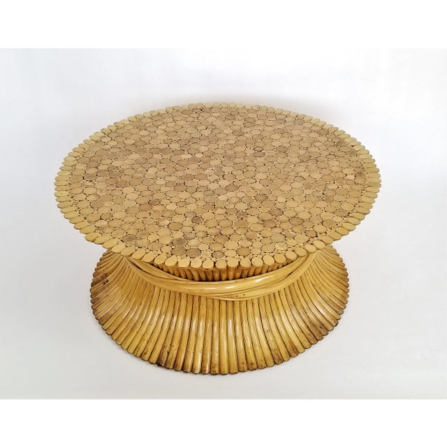 Asian Vintage 1960s Rattan Wheat Sheaf Coffee Table by McGuire For Sale - Image 3 of 12