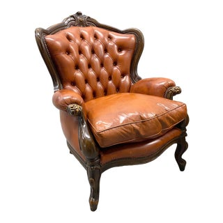 Vintage Leather Tufted Armchair For Sale