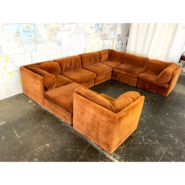 Eight Piece Modular Sofa by Milo Baughman for Thayer Coggin. Sofa is in good vintage condition with wear from age an use....