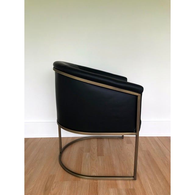 2010s J L F Collections Black Leather Barrel Chairs - a Pair For Sale - Image 5 of 9