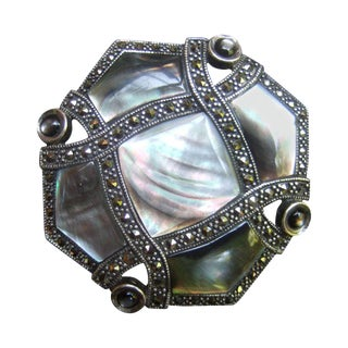Exquisite Mother of Pearl Sterling Marcasite Brooch For Sale