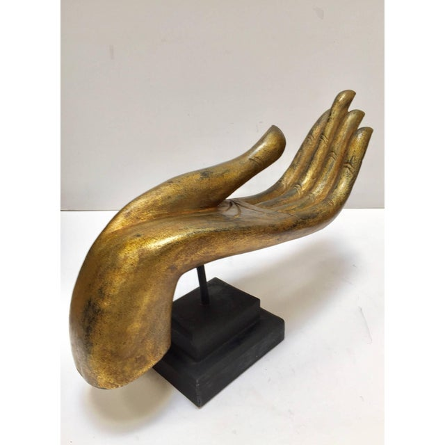 Folk Art Giltwood Buddha Hand on Stand, Thailand For Sale - Image 3 of 13