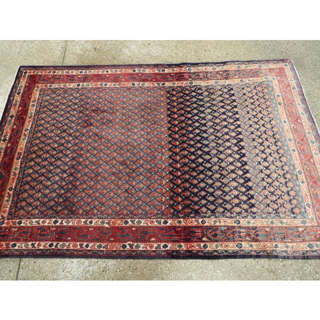 "Blue Vintage Persian Malayer Rug – Size: 3'4"" X 5' 1"" For Sale - Image 8 of 10"