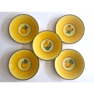 Royal Copenhagen Vintage Mid Century 1950's Yellow Fruit Bellona Faience Porcelain Dessert Plates - Set of 5 Preview