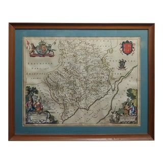 Johannes Blaeu-17th Century Monmouthshire County Map 1663 For Sale
