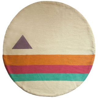 Geometric Technicolor Hand Embroidered Modern Round Rug, Carpet - 3' For Sale