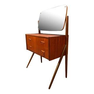 Vintage Danish Mid Century Modern Teak Vanity Dressing Table With Mirror by Sigfried Omann For Sale
