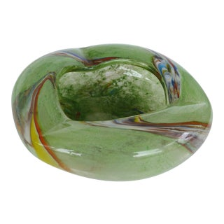 Murano Glass Bowl or Ashtray in Green For Sale