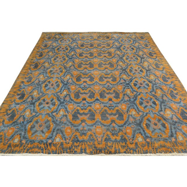 "Kafkaz Peshawar Rolando Light Blue/Gray Wool Rug - 7'6"" X 9'5"" For Sale - Image 5 of 8"