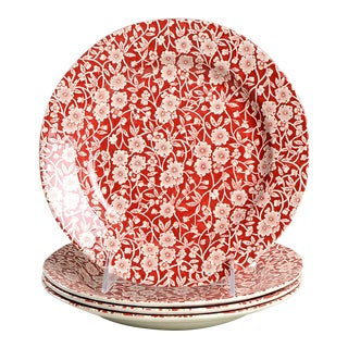 Burgess & Leigh Calico Red Luncheon Plates - Set of 4