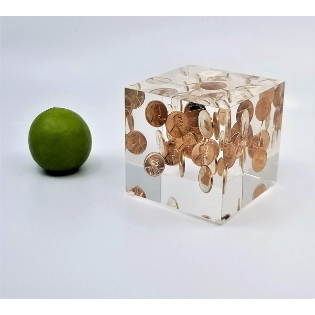 Pop Art Mid Century Modern Lucite Sculpture of Pennies Dated 1970 - Andy Warhol Abstract Surrealism Palm Beach Boho Chic For Sale - Image 11 of 12